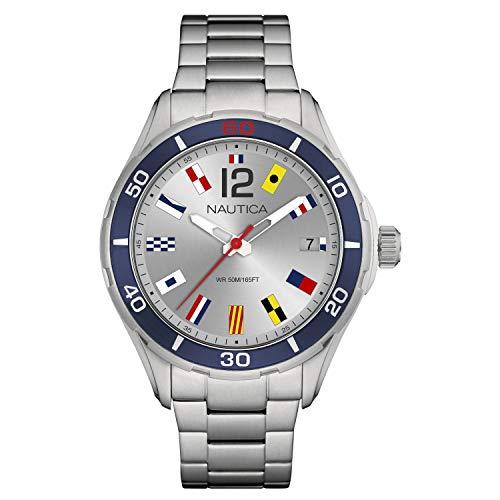 腕時計 ノーティカ メンズ 【送料無料】Nautica Men's Cruise NST 1 Flags NAPNSI806 Silver Stainless-Steel Quartz Fashion Watch腕時計 ノーティカ メンズ