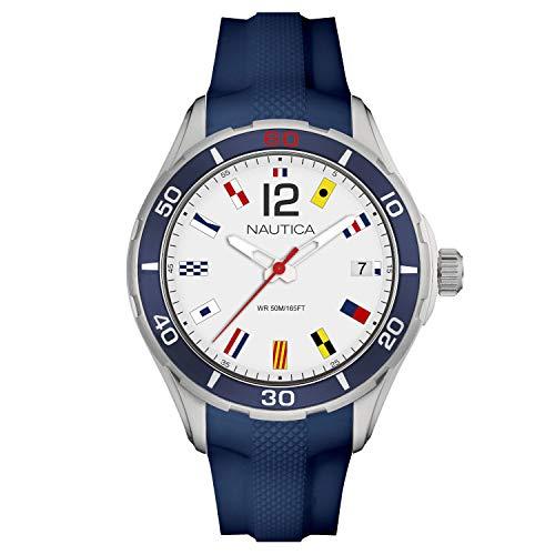腕時計 ノーティカ メンズ 【送料無料】Nautica Men's Cruise NST 1 Flags NAPNSI804 Silver Silicone Quartz Fashion Watch腕時計 ノーティカ メンズ