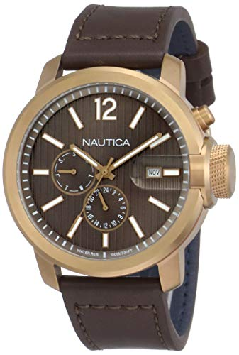 ノーティカ 腕時計 メンズ 【送料無料】Nautica Men's Sydney Multi Stainless Steel Japanese-Quartz Leather Strap, Brown, 22 Casual Watch (Model: NAPSYD017)ノーティカ 腕時計 メンズ
