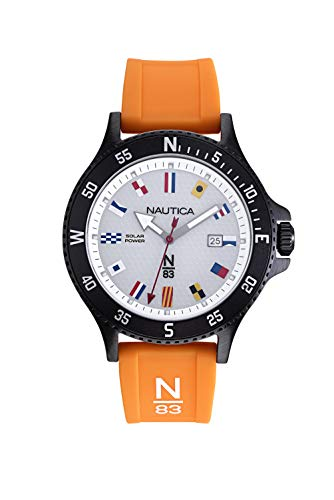腕時計 ノーティカ メンズ 【送料無料】Nautica Watch NAPCBS908 Cocoa Beach Calendar, Signal Flag Indexes, Solar Powered, Snap Down Case, Orange腕時計 ノーティカ メンズ