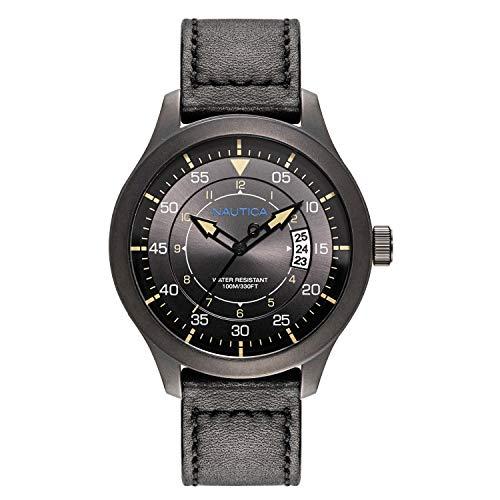 Hands, Water Analog, Band, ノーティカ NAPPLP905 Luminous 腕時計 Loma Date Watch メンズ 【送料無料】Nautica Point ノーティカ Display, Resistant, Leather Black腕時計 Black メンズ