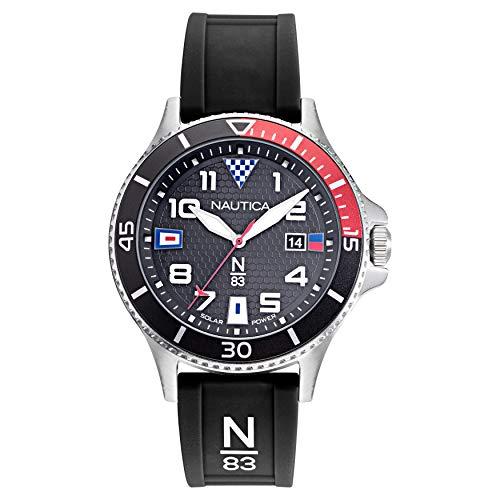 腕時計 ノーティカ メンズ 【送料無料】Nautica N83 Men's NAPCBF914 Cocoa Beach Black/Red Silicone Strap Watch腕時計 ノーティカ メンズ