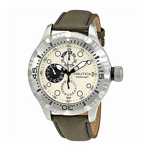 ノーティカ 腕時計 メンズ 【送料無料】Nautica A15108G 49mm Stainless Steel Case Green Calfskin Mineral Men's Watchノーティカ 腕時計 メンズ