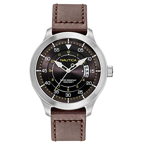 腕時計 ノーティカ メンズ 【送料無料】Nautica Watch NAPPLP903 Point Loma Analog, Water Resistant, Date Display,Luminous Hands, Brown Leather Band, Black腕時計 ノーティカ メンズ