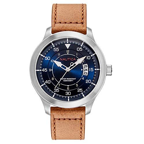 腕時計 ノーティカ メンズ 【送料無料】Nautica Watch NAPPLP901 Point Loma Analog, Water Resistant, Date Display, Luminous Hands, Brown Leather Band, Blue腕時計 ノーティカ メンズ