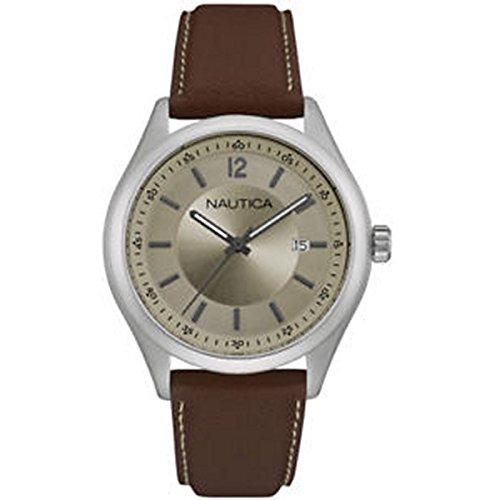 腕時計 ノーティカ メンズ 【送料無料】Nautica Men's Analog Round Steel Watch Brown Leather Strap NAD11013G腕時計 ノーティカ メンズ