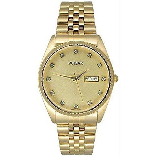 腕時計 パルサー SEIKO セイコー メンズ 【送料無料】Pulsar Gold-tone Swarovski Crystal Dress Mens Watch PXF286腕時計 パルサー SEIKO セイコー メンズ