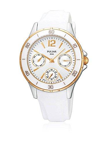 パルサー SEIKO セイコー 腕時計 レディース 【送料無料】Pulsar Ladies Rose Tone Bezel Silver Dial White Plastic Strap Watch PP6022パルサー SEIKO セイコー 腕時計 レディース