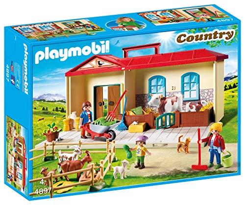 プレイモービル ブロック 組み立て 知育玩具 ドイツ 【送料無料】Playmobil 4897 Country Take Along Farm with Carry Handle and Fold-Out Stables - Multicolorプレイモービル ブロック 組み立て 知育玩具 ドイツ
