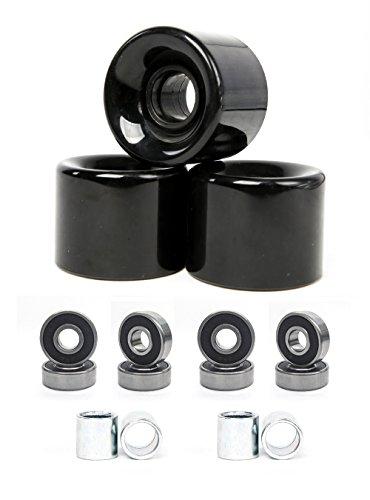 ウィール タイヤ スケボー スケートボード 海外モデル 【送料無料】FREEDARE 58mm Skateboard Wheels 82a + ABEC-7 Bearing Steel and Spacers Cruiser Wheels (Black, Pack of 4)ウィール タイヤ スケボー スケートボード 海外モデル:angelica