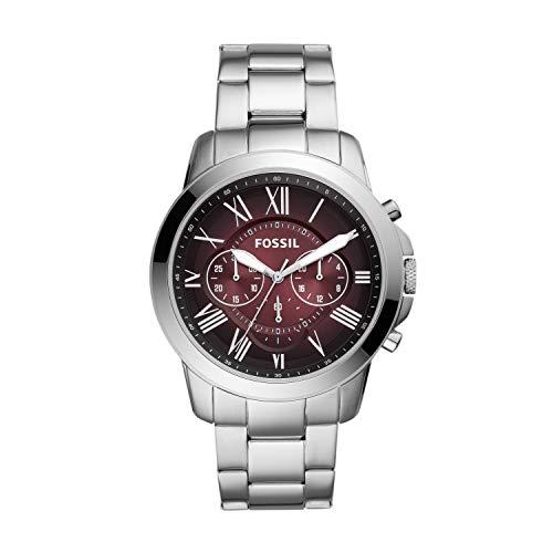 メンズ (Model: Men's FS5628)腕時計 Chronograph Grant 【送料無料】Fossil Color: Watch, Silver/Red 腕時計 Stainless フォッシル Quartz メンズ フォッシル Dial