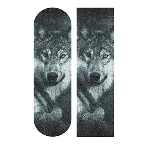 デッキテープ グリップテープ スケボー スケートボード 海外モデル 【送料無料】YYZZH Grey Wolf Print Forest Animal Design Skateboard Grip Tape 9