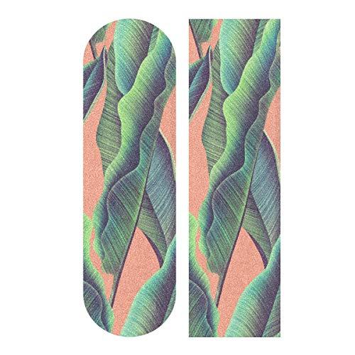 デッキテープ グリップテープ スケボー スケートボード 海外モデル 【送料無料】YYZZH Tropical Leaves Banana Leaf On Orange Skateboard Grip Tape 9