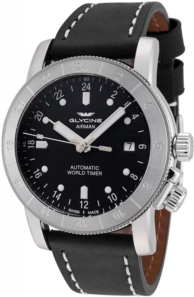 グリシン スイスウォッチ 腕時計 メンズ グライシン 【送料無料】Glycine Airman World Time GMT Automatic Black Dial Mens Watch GL0140グリシン スイスウォッチ 腕時計 メンズ グライシン