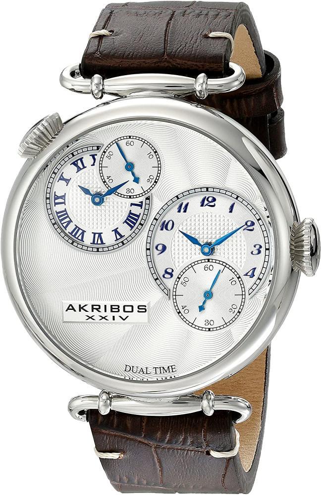 アクリボスXXIV 腕時計 メンズ 【送料無料】Akribos XXIV Men's Dual Time Watch - Engraved Sunburst Guilloche Dial On Embossed Crocodile Pattern Leather Strap - AK796アクリボスXXIV 腕時計 メンズ