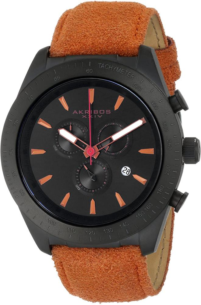 アクリボスXXIV 腕時計 メンズ 【送料無料】Akribos XXIV Men's 'Ultimate' Chronograph Watch - Swiss Quartz Subdials with Date Window On Orange Leather Suede Strap - AK701アクリボスXXIV 腕時計 メンズ
