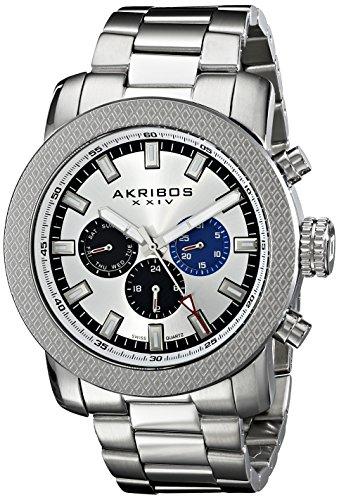 アクリボスXXIV 腕時計 メンズ 【送料無料】Akribos XXIV Men's 'Grandiose' Multifunction Silver Watch - 3 Subdial Swiss Quartz Complications on Silver Stainless Steel Bracelet - AK684アクリボスXXIV 腕時計 メンズ