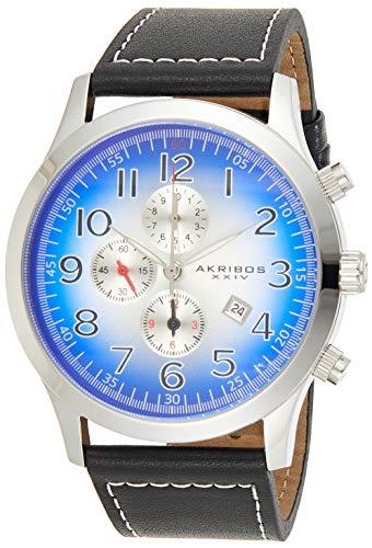 アクリボスXXIV 腕時計 メンズ 【送料無料】Akribos XXIV Men's 'Essential' Chronograph Watch - 3 Subdials on Radiant Blue Sunray Dial With Date Window On Black Genuine Leather Strap - AK603アクリボスXXIV 腕時計 メンズ
