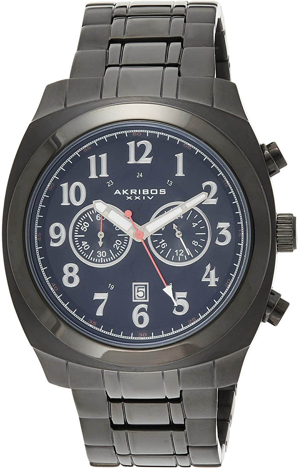 アクリボスXXIV 腕時計 メンズ 【送料無料】Akribos XXIV Men's 'Ultimate' Chronograph Watch - 2 Subdials and Date Window On Black Stainless Steel Pillow-Cut Bracelet - AK624BKアクリボスXXIV 腕時計 メンズ
