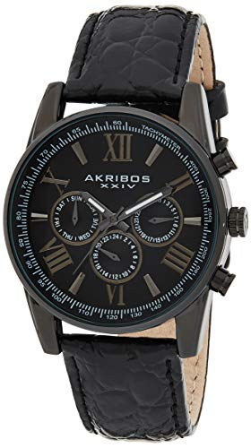 アクリボスXXIV 腕時計 メンズ 【送料無料】Akribos Multifunction Chronograph Men's Watch - 3 Sub-Dials Complications With Date Window On Genuine Crocodile Embossed Leather Watch - AK864アクリボスXXIV 腕時計 メンズ