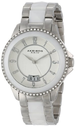 アクリボスXXIV 腕時計 レディース 【送料無料】Akribos XXIV Women's AK654WT Impeccable Swarovski Crystal Accented Silver-Tone White Pyramid Stainless Steel Bracelet WatchアクリボスXXIV 腕時計 レディース