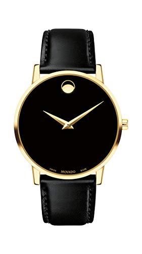 腕時計 モバード メンズ 【送料無料】Movado Men's Museum Yellow Gold Watch with Concave Dot Museum Dial, Gold/Black Strap (Model 607271)腕時計 モバード メンズ