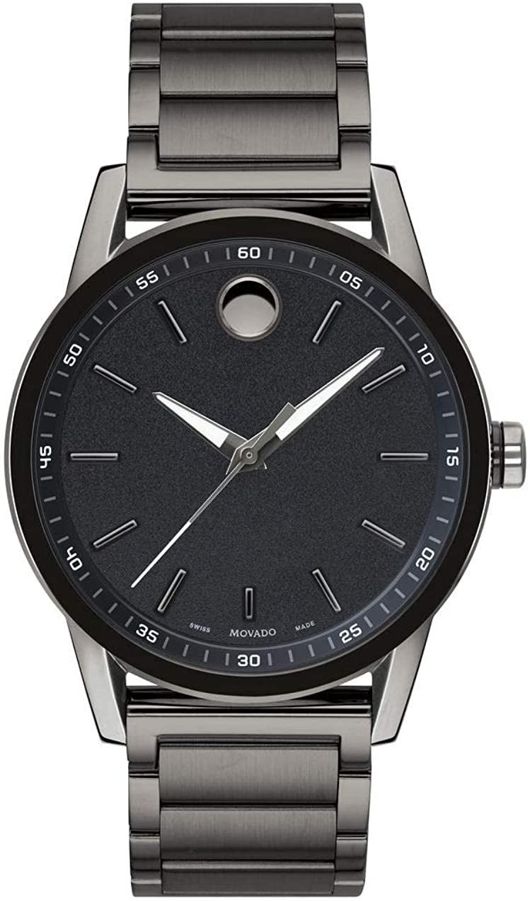 腕時計 モバード メンズ 【送料無料】Movado Men's Museum Sport Gunmetal Watch with a Printed Index Dial, Grey/Black (Model 0607226)腕時計 モバード メンズ