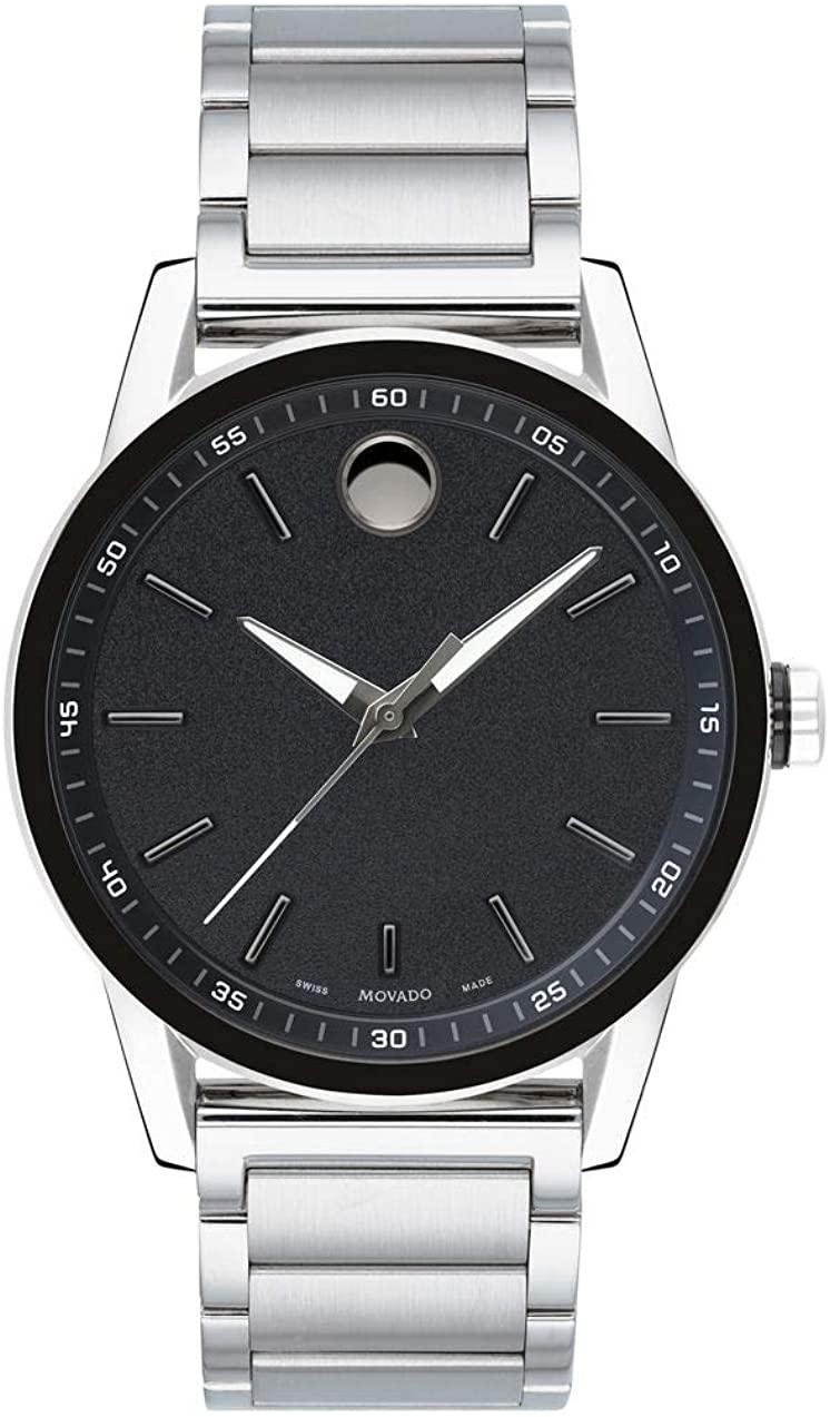 モバード 腕時計 メンズ 【送料無料】Movado Men's Museum Sport Stainless Steel Watch with a Printed Index Dial, Silver/Black (0607225)モバード 腕時計 メンズ
