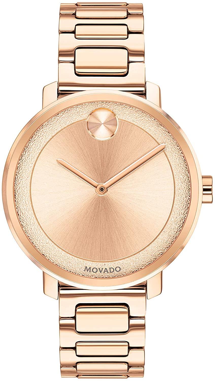 無料ラッピングでプレゼントや贈り物にも 逆輸入並行輸入送料込 腕時計 モバード アウトレット レディース 送料無料 Movado Women's BOLD いよいよ人気ブランド Sugar Dial with Flat 3600503 Pink Gold Model Rose Watch Dot