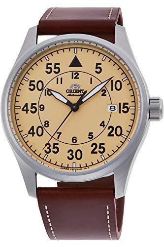 腕時計 オリエント メンズ 【送料無料】Orient Flight Sports Automatic Yellow Dial Brown Leather Watch RA-AC0H04Y腕時計 オリエント メンズ