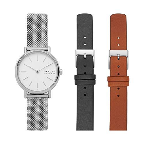 腕時計 スカーゲン レディース 【送料無料】Skagen Women's Signatur Japanese-Quartz Watch with Stainless-Steel Strap, Silver, 14 with Women's 14mm Leather Watch Strap, Color: Brown and Women's 14mm Leather Watch Strap,腕時計 スカーゲン レディース