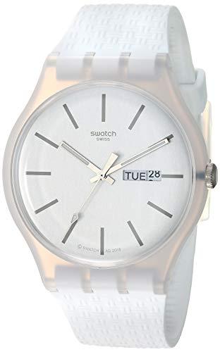 スウォッチ 腕時計 メンズ 夏の腕時計特集 【送料無料】Swatch 1907 BAU Quartz Silicone Strap, White, 20 Casual Watch (Model: SUOW710)スウォッチ 腕時計 メンズ 夏の腕時計特集