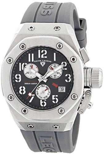 スイスレジェンド 腕時計 レディース 【送料無料】Swiss Legend Women's 10535-014 Trimix Diver Chronograph Grey Dial Grey Silicone Watchスイスレジェンド 腕時計 レディース