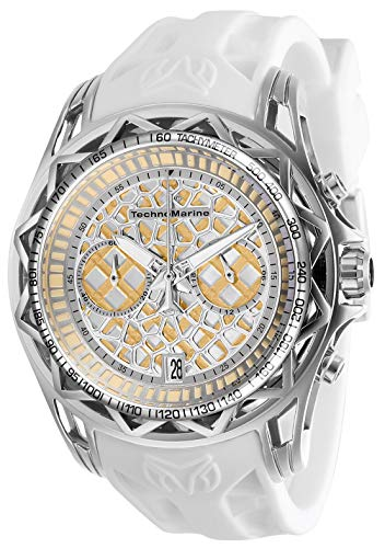 テクノマリーン 腕時計 メンズ 【送料無料】Technomarine Men's Technocell Stainless Steel Quartz Watch with Silicone Strap, White, 22 (Model: TM-318025)テクノマリーン 腕時計 メンズ
