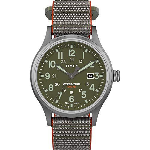 腕時計 タイメックス メンズ 【送料無料】Timex Men's TW4B18600 Expedition Scout Solar 40mm Green/Silver-Tone Fabric Fast Wrap Strap Watch腕時計 タイメックス メンズ