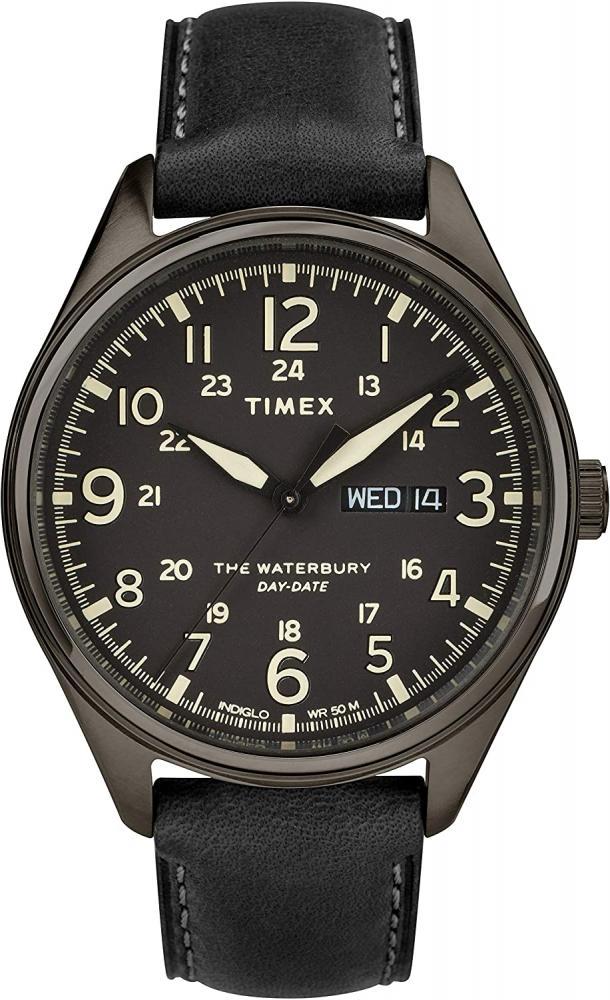 腕時計 タイメックス メンズ 【送料無料】Timex Men's Waterbury Traditional Day-Date 42mm Stainless Steel Analog Quartz Leather Strap, Black, 20 Casual Watch (Model: TW2R89100VQ)腕時計 タイメックス メンズ