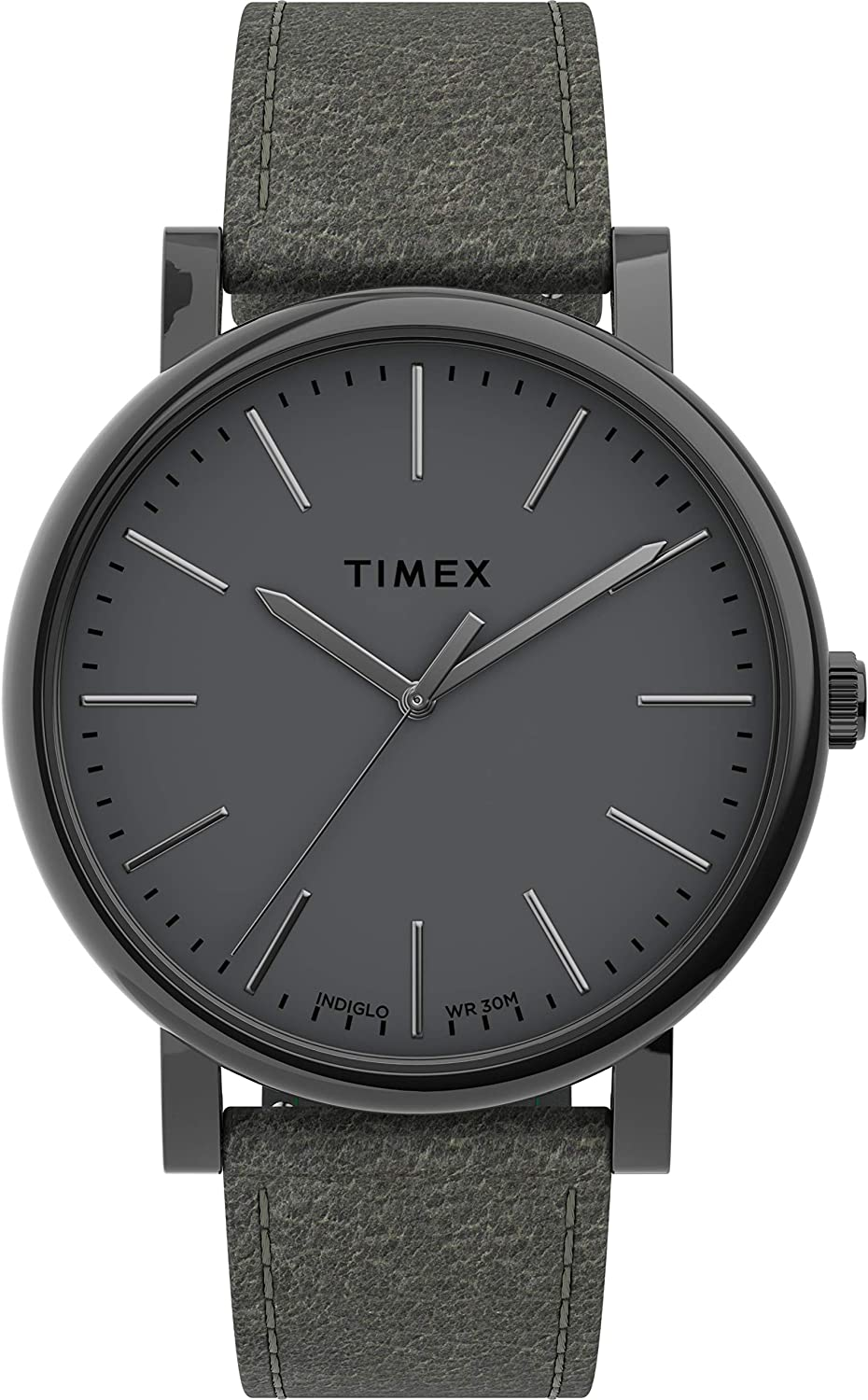 腕時計 タイメックス メンズ 【送料無料】Timex Men's Originals 42mm Stainless Steel Analog Quartz Leather Strap, Gray, 20 Casual Watch (Model: TW2U05900)腕時計 タイメックス メンズ