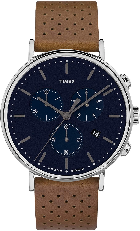 【送料無料】Timex Fairfield TWF3C8070 Watch腕時計 Tan/Blue Men's 腕時計 メンズ Leather 41mm Strap Chrono タイメックス タイメックス メンズ