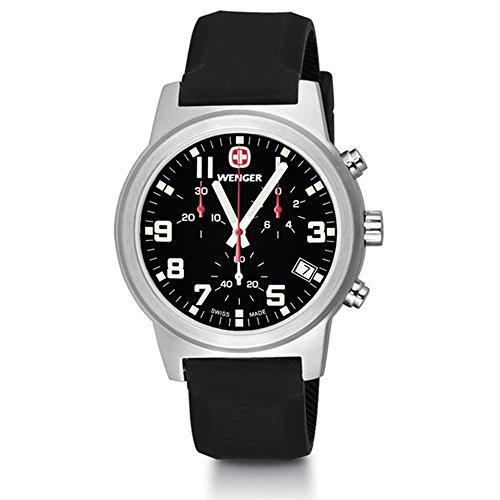 ウェンガー スイス メンズ 腕時計 【送料無料】Wenger Field Chrono Large Swiss Quartz Men's Watch, Silicone Strap, Blackウェンガー スイス メンズ 腕時計