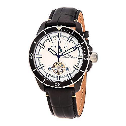 数量限定価格!! 腕時計 ルシアンピカール メンズ 【送料無料】Lucien Piccard Automatic White Dial Black Leather Men's Watch 1298A4腕時計 ルシアンピカール メンズ, モテギマチ 2bd4f99c
