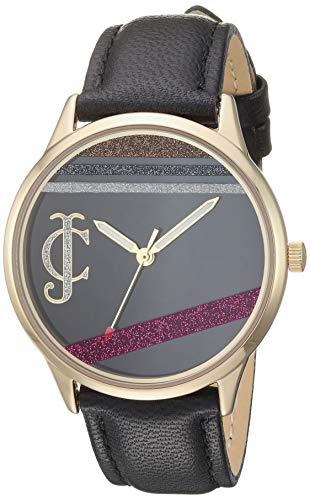 ジューシークチュール レディース 【送料無料】Juicy Couture Black Label Women's Gold-Tone and Black Leather Strap Watch, JC/1186BKBKジューシークチュール レディース