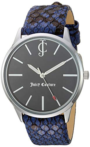ジューシークチュール レディース 【送料無料】Juicy Couture Black Label Women's Silver-Tone and Navy Blue Snake Patterned Leather Strap Watch, JC/1185BKNVジューシークチュール レディース