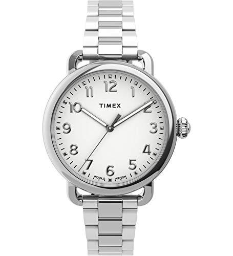 タイメックス 腕時計 レディース 【送料無料】Timex Women's Standard 34mm Stainless Steel Analog Quartz Leather Strap, Silver, 14 Casual Watch (Model: TW2U13700)タイメックス 腕時計 レディース