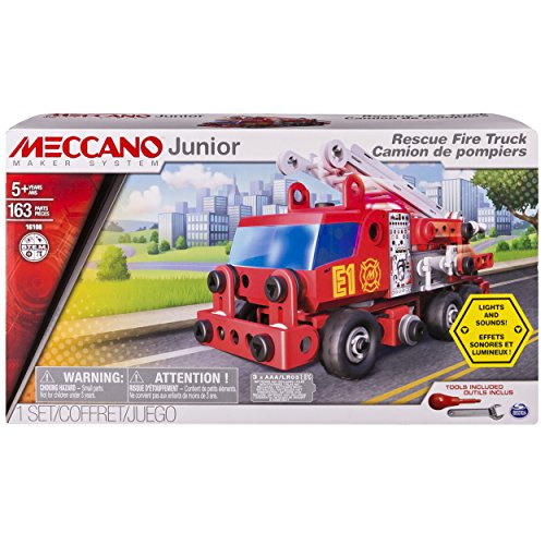 アンクルミルトン 知育玩具 科学 6028420 Meccano Junior - Rescue Fire Truck with Lights and Sounds Model Building Set, 163 Pieces, For Ages 5+, STEM Construction Education Toyアンクルミルトン 知育玩具 科学 6028420