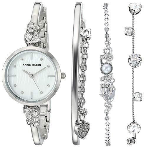 アンクライン 腕時計 レディース 【送料無料】Anne Klein Women's Swarovski Crystal Accented Silver-Tone Bangle Watch and Bracelet Set, AK/3431SVSTアンクライン 腕時計 レディース