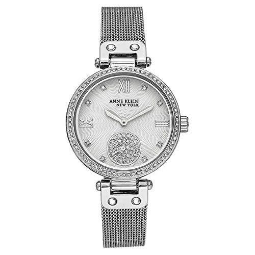 【ラッピング不可】 腕時計 アンクライン レディース 【送料無料】Anne Klein New York Silver-Tone Mesh Ladies Watch with Swarovski Crystals腕時計 アンクライン レディース, センボクマチ b468b16a