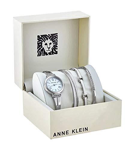 アンクライン 腕時計 レディース 【送料無料】Anne Klein White Glossy Dial Ladies Watch and Bracelet Set AK/3414WTSTアンクライン 腕時計 レディース