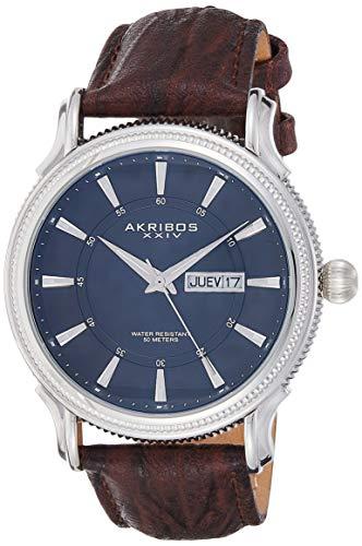 アクリボスXXIV 腕時計 メンズ 【送料無料】Akribos XXIV Men's 'Essential' Men's Watch - Coin Edged Bezel with Day and Date Window, Luminescent Hands on Genuine Leather Strap - AK726アクリボスXXIV 腕時計 メンズ