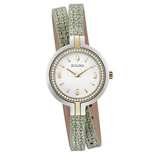 ブローバ 腕時計 レディース 【送料無料】Bulova Rhapsody 98R278 Womens Green/Grey Leather Band Diamond White Quartz Dial Watchブローバ 腕時計 レディース