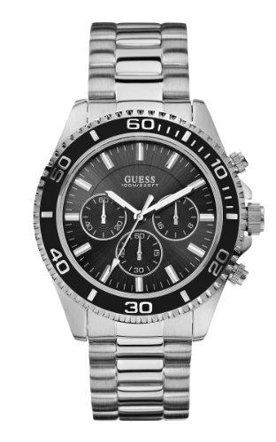 ゲス GUESS 腕時計 メンズ 【送料無料】GUESS Men's U0170G1 Sporty Black Dial Stainless Steel Chronograph Watchゲス GUESS 腕時計 メンズ